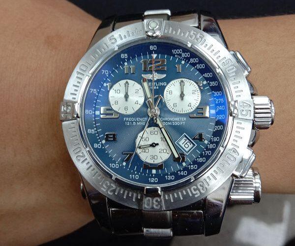 台中流當品拍賣 流當手錶 少有 原裝 BREITLING 百年靈 計時 石英 救難錶 9成5新 喜歡價可議 ZR502