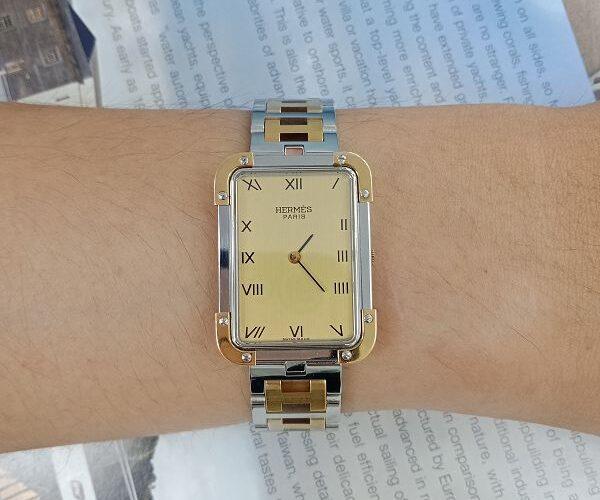 台中當舖流當品拍賣 流當手錶 原裝 HERMES 愛馬仕 不銹鋼 半金 石英 女錶 9成新KR011