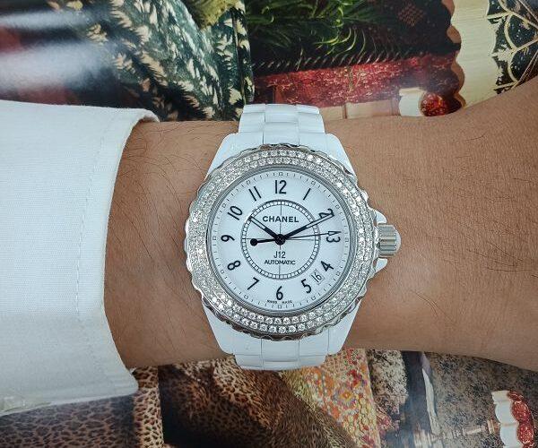 台中二手流當拍賣 原裝 CHANEL 香奈兒 J12 38mm 陶瓷 雙鑽圈 自動 女錶 9成5新 特價出清 KR012