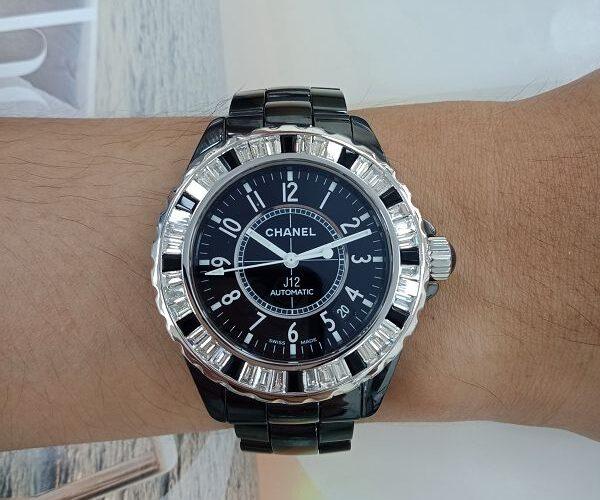 台中流當精品 原裝 CHANEL香奈兒 J12 38mm 黑陶瓷 鑽圈 自動 男女錶 9成5新 特價出清 KR013